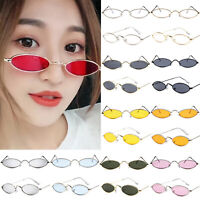 Men Women Vintage Small Oval Retro Sunglasses Metal Frame Tiny Shades Glasses