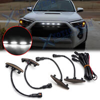 For Toyota 4Runner 2014-2019 Smoked Lens Front Grille White LED Lights Assy Kit