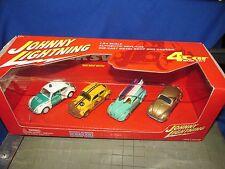 Johnny Lightning 4 Car Set Volkswagen, VW, Beetles Bugs surf rally  polizei 1:64