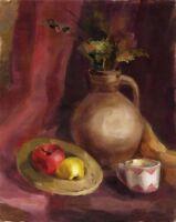 """Russischer Realist Expressionist Öl Leinwand """"Krug und Apfel"""" 50 x 40 cm"""
