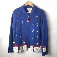 vintage christmas sweater xl Womens Santa Candy Cane Zip Up Cardigan Blue Ugly