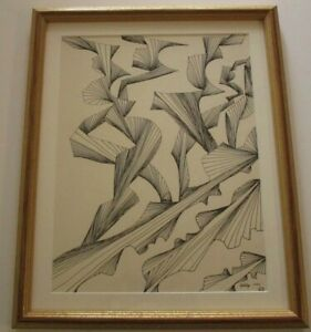 PHYLLIS SIGNED 1960'S OP ART  ORIGINAL DRAWING ABSTRACT EXPRESSIONISM GEOMETRIC