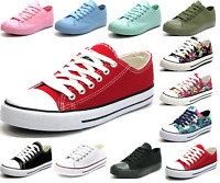 New Womens Girls Classic Lace Up Canvas Shoes Casual Comfort Sneakers 11 Colors
