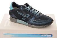 Sneakers Uomo Mizuno Etamin 2 D1GE1810 Scarpe Pelle Cotone Gomma Nere Blu Nuove