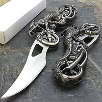 """7"""" DRAGON BIKER BLADE DESIGN STAINLESS STEEL TACTICAL FOLDING POCKET KNIFE"""