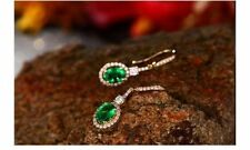 18ct Yellow Gold Stunning Natural Colombian Emerald & Diamond Earrings VVS