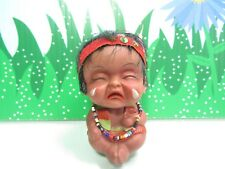 "1960's CRYING NATIVE AMERICAN ROOTIE  BABY BOY - 3"" MOODY Troll Doll - UNMARKED"