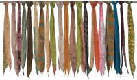 100 Vintage Silk recycle Sari Sashes Head Wrap Neck Tie lot Wholesale India SC71