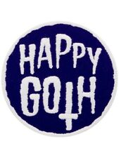 Happy Goth Embroidered Iron on Patch purple inverted Cross Emo spooky witch