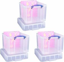 Really Useful 35 Litre XL Storage Box, Clear, Pack of 3 Plastic Boxes Bonus Pack