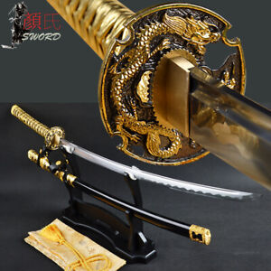 Hand Forged Golden Tachi Japanese Samurai Sword Dragon Tsuba Carbon Steel Sharp