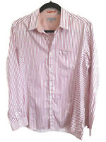 "Ted Baker Size 3 38"" Pink White Stripe Mens Long Sleeve Shirt Pocket Cotton"