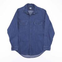 Vintage MADE 4 WORK Blue Heavy Cotton Worker Shirt Men's Size Medium