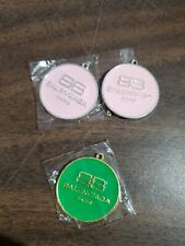 NEW SET OF 2 PINK SILVERTONE & 1 GREEN GOLDTONE ENAMEL BALENCIAGA LUGGAGE TAGS