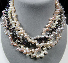 Solid 14KT 14K Yellow Gold 5 Strand Multi Color Genuine Cultured Pearl Necklace