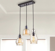 3 Light Cluster Pendant Fixture Glass Shades Rustic Black Island Dining Room New