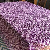 """Vintage Crochet Bedspread Purple Lavender Queen 82"""" x 98"""" King Queen Coverlet"""