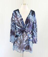 Alberto Makali Blue Abstract Print V-Neck Beaded Tunic Top Blouse Size XL Boho