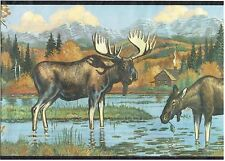 MOOSE DRINKING IN SHALLOW RIVER LOG CABIN AND MOUNTAINS Wallpaper Wall bordeR