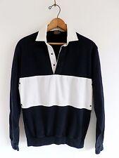 Vtg 80s Black White Stripe Preppy Sport Retro Long Sleeve Rugby Polo Shirt S M