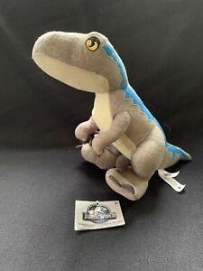 "Mattel 9"" Jurassic World Velociraptor Blue Plush Dinosaur"