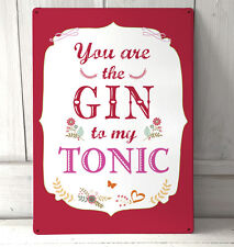 Valentines Day love quote You are the Gin to my Tonic sign A4 metal plaque