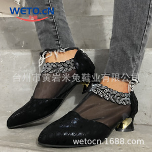 Women's Rhinestone Mesh Sequined Shoes Fashion Sexy Pointed Toe Mid-Heel Shoes