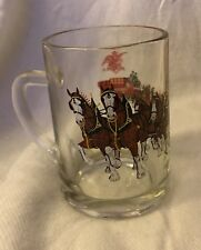 "Awesome VTG ""Budweiser Champion Clydesdales"" Glass Beer Cup Mug Bud Horse"