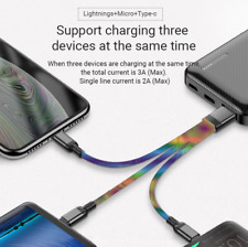 3 in 1 USB Cable Split Charger iPhone / Type-C / Micro USB (3 PACK)