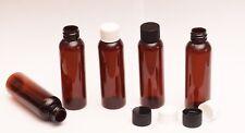 2 Oz Empty  Plastic Amber PET Bottles w/ White Ribbed Lids  ( 20 PACK)