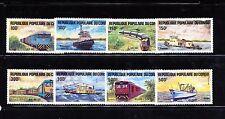 Congo #703-710 (CO345) Comp 1984 Locomotives & Ships, MNH, FVF