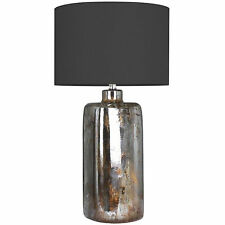 MERCURY FINISH, GLASS BASED TABLE LAMP- LINEN SHADE INCLUDED.