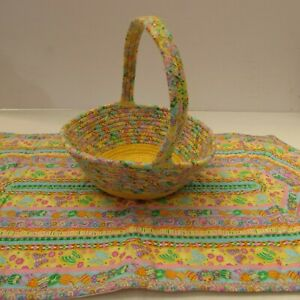 Easter Table Runner Coiled Fabric Rope Basket Eggs Butterflies Flowers Handmade