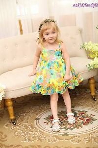 Cute Kids Girls Sleeveless Colorful Floral Dresses 1 2 3 4 5  #88112