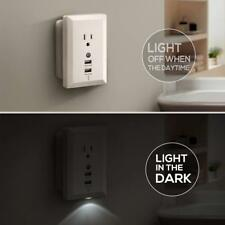 110V Wall Power Outlet Socket Dock & 2 USB Port 2.4 A Charger & LED Night Light