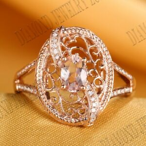Fine Jewelry Morganite Real SI/H Diamonds Wedding Gift Ring Solid 14k Rose Gold