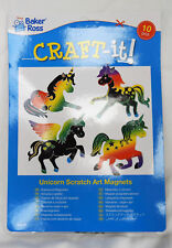 Pack of 10 Unicorn Scratch Art Magnets - Children's Crafts - BNIB