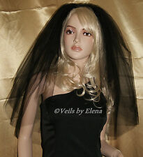 Wedding Gothic Veil Elbow Mourning Halloween Costume 3 Tiers Cut Edge 29 Colors