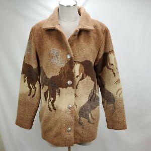 Vintage County Clothing Co Womens Fleece Jacket Medium Brown Western Horses