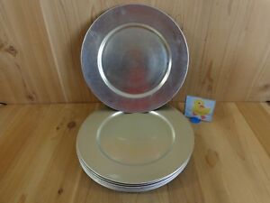 """SILVER DECORATIVE CHARGER PLATES Set of 8 Plastic 13"""" Not For Food Use"""