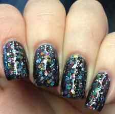 NEW! Deborah Lippmann FORGET YOU Nail Polish ~ Black Base + Hex Glitter
