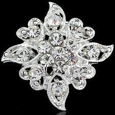 Silver Bouquet Jewelry Crystal Rhinestone rhombus Flower Brooch Pin Gift Wedding