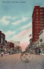 VINTAGE POSTCARD STREET SCENE AT MAIN ST LITTLE ROCK ARKANSAS MAILED 1946
