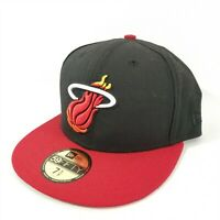 New Era 59Fifty Cap Hat Miami Heat Black NBA Fitted Size 7 5/8
