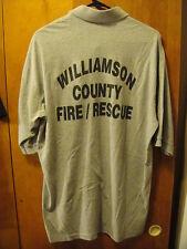 FIRE DEPT Wiliiamson County TN Rescue Squad Pocket 2 Button Polo Shirt XL Gray