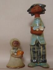 UCTCI VINTAGE STONEWARE FIGURINES  BOY & GIRL JAPAN - BEAUTIFUL