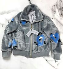 Andrew Marc New York Women's Faux Fur Grey Floral Blue Bomber Jacket XL