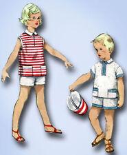 1950s Original Vintage Simplicity Pattern 1150 Toddler Boys Shirt & Shorts Sz 1