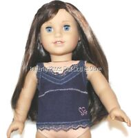 Navy Blue Rib Lace Heart Tank Top 18 in Doll Clothes Fits American Girl Dolls