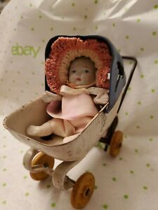 Baby Doll in Buggy Carriage Vintage 1930 Wyandotte Metal Wooden Wheels Pre War